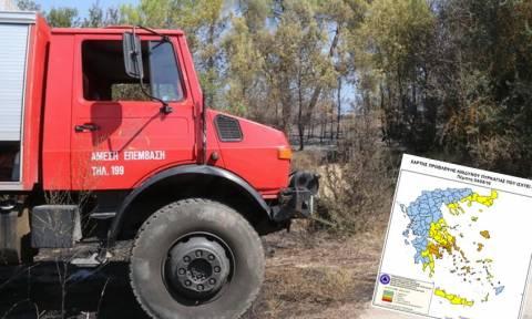 Πορτοκαλί συναγερμός! Ο χάρτης πρόβλεψης κινδύνου πυρκαγιάς για την Πέμπτη 4/8 (pics)