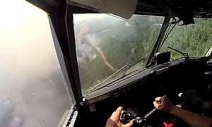 Συγκλονιστικές σκηνές κατάσβεσης στην Εύβοια μέσα από το Canadair (vid)