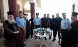 Η Μητρόπολη Ιεραπύτνης και Σητείας δώρισε κράνη στους αστυνομικούς της ομάδας «ΔΙΑΣ»