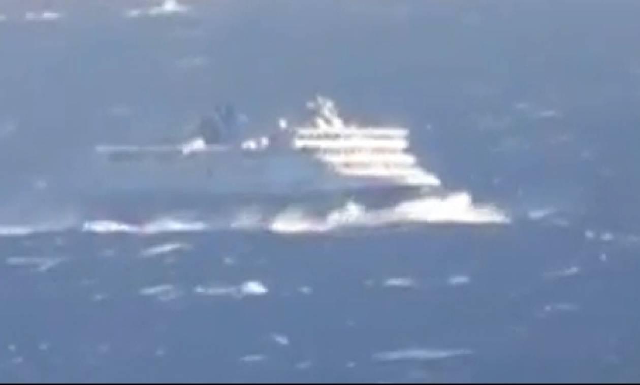 Απίστευτη μάχη πλοίου με τα 8 μποφόρ στο στενό Τήνου - Μυκόνου (video)