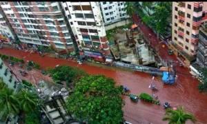 Ανατριχιαστικές εικόνες: Ποτάμια αληθινού αίματος οι δρόμοι στο Μπαγκλαντές (vid+pics)