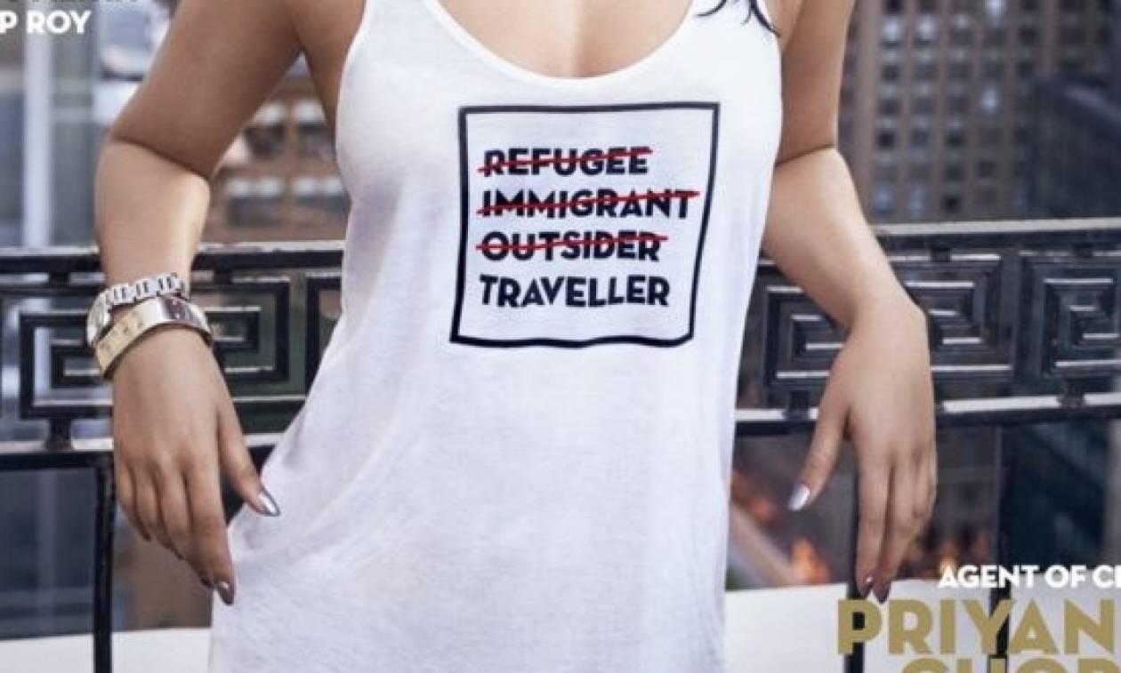 Σάλος με φωτογράφιση γνωστής ηθοποιού με μπλουζάκι για τους πρόσφυγες (photos)