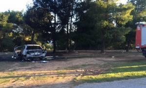 Ληστεία «Υφαντής»: Αυτό είναι το ένα από τα δύο καμένα αυτοκίνητα των δραστών (photos&video)