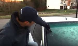 Εύκολος τρόπος για να φύγει ο πάγος από το παρμπρίζ του αυτοκινήτου (vid)