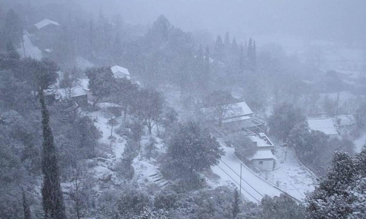 Καιρός ΤΩΡΑ: Με σφοδρότητα πλήττει ο χιονιάς την Κέρκυρα
