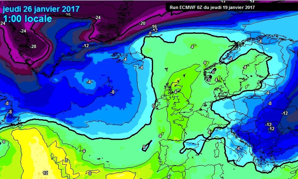 Ερχεται ξανά: Νέα ψυχρή εισβολή από τις 26 Γενάρη με χιόνια και στην Αθήνα (δείτε τους χάρτες)