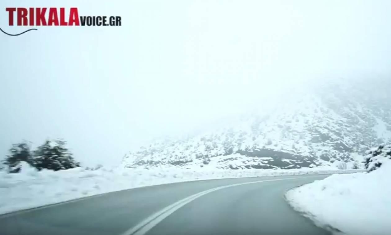 Καιρός: Οδηγώντας στην χιονισμένη Εγνατία – Εντυπωσιακές εικόνες (vid)