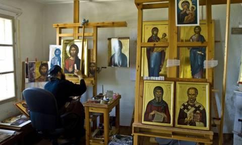 Άγιο Όρος: Στα άδυτα του εργαστηρίου αγιογραφίας της Ι. Μ Βατοπεδίου (pics)