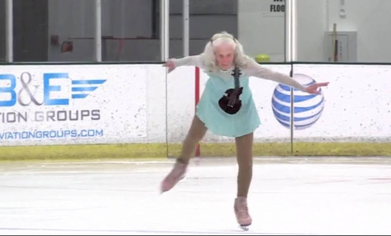 Αυτό πρέπει να το δείτε: Τη λένε Υβόννη, είναι 90 χρονών και κάνει καλλιτεχνικό πατινάζ (video)