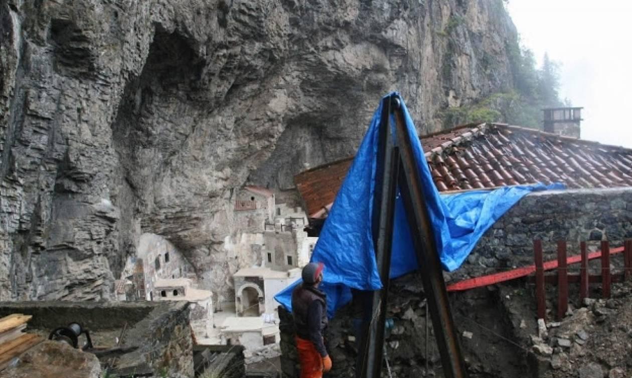 Οι κακές καιρικές συνθήκες δεν σταματούν τα έργα αποκατάστασης στην Παναγία Σουμελά Τραπεζούντος