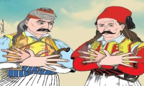 Προκαλούν οι Αλβανοί: Κολοκοτρώνης και Μπότσαρης σχηματίζουν τον αλβανικό αετό (pics)
