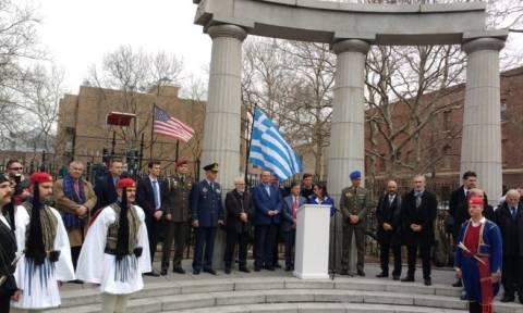 Tελετή έπαρσης της σημαίας στην Πλατεία Αθηνών της Αστόριας