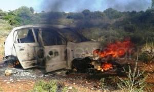 Χανιά: Έβαλε φωτιά στο αμάξι, για να μην του το πάρει η πρώην γυναίκα του! (pics)
