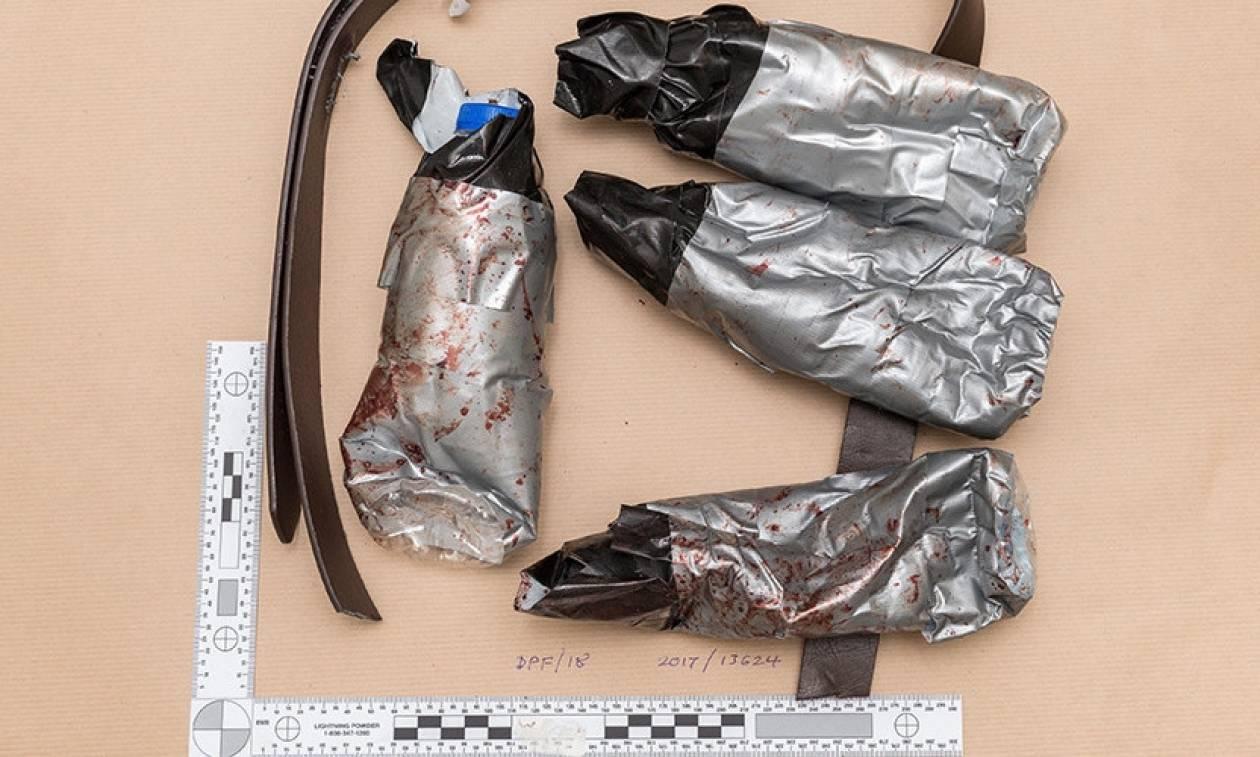 Φωτογραφίες-Σοκ: Oι ματωμένες ζώνες αυτοκτονίας και τα μαχαίρια των τζιχαντιστών του Λονδίνου