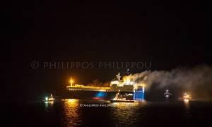 Έσβησε η φωτιά στο οχηματαγωγό πλοίο «MED STAR» (pics)