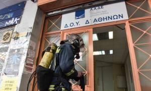 Συναγερμός στα Εξάρχεια - Φωτιά στη Δ' ΔΟΥ Αθηνών (pics)
