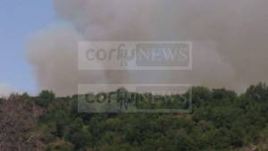 Μεγάλη φωτιά τώρα: Σε δασική έκταση στην ορεινή Περίσσια της Κέρκυρας