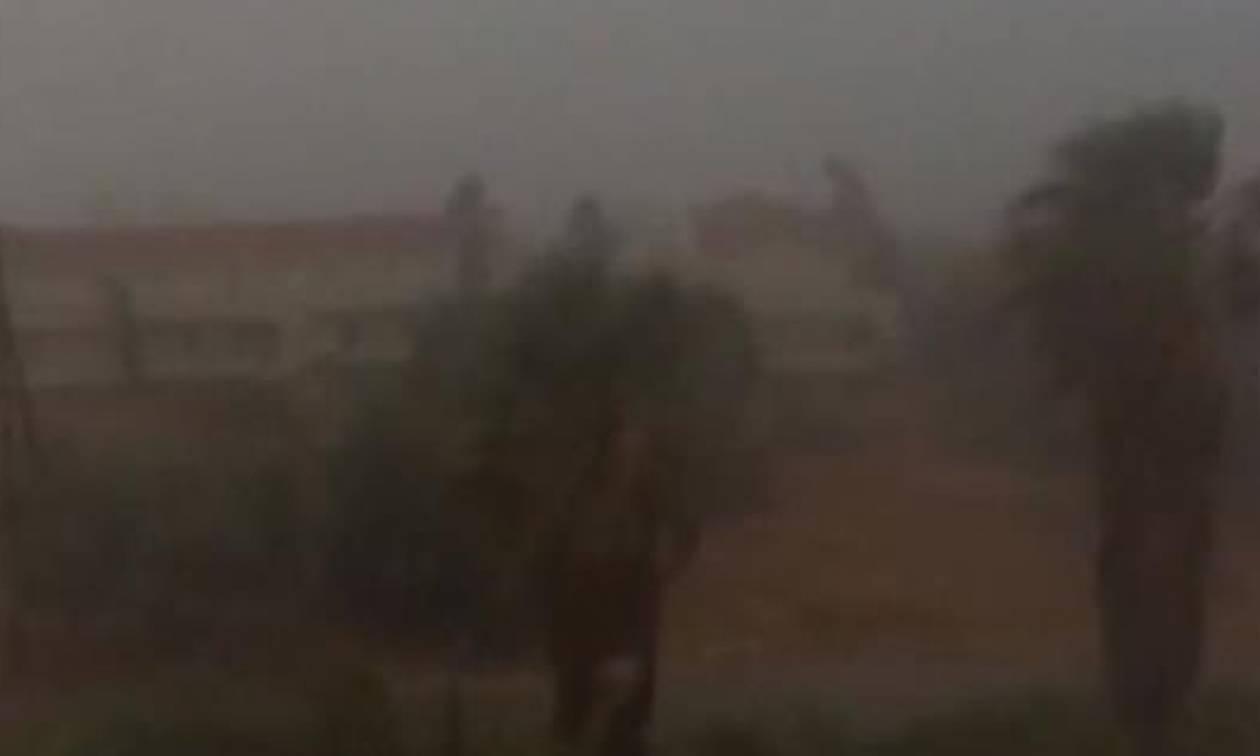 «Χτύπησε» την Κεφαλονιά η κακοκαιρία με βροχές και χαλάζι (vid)