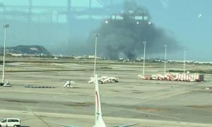 Φωτιά στο αεροδρόμιο της Βαρκελώνης