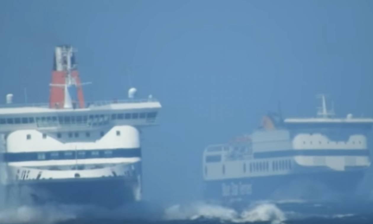 Απίθανη μάχη με τα 7 μποφόρ για Νήσος Μύκονος και Blue Star 1 (video)