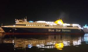 Αυτοψία στα ύφαλα του «Blue Star Patmos» που προσάραξε στην είσοδο του λιμανιού της Ίου