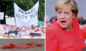 Πέταξαν ντομάτες στη Μέρκελ – Δείτε τη στιγμή της επίθεσης (Vid)