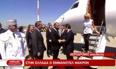French President Emmanuel Macron arrives in Athens