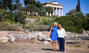 French first lady shown around Ancient Agora by Greek president's wife, Vlassia Pavlopoulou