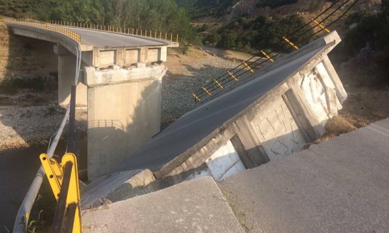 Κατέρρευσε γέφυρα στην Κομοτηνή - Από θαύμα γλίτωσαν οι οδηγοί (pics)