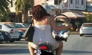Μυτιλήνη: Φωτογραφία με νεογέννητο πάνω σε μηχανάκι προκαλεί σοκ!