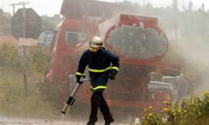 Μεγάλη φωτιά σε βυτιοφόρο στην Εθνική Οδό Κορίνθου - Πατρών