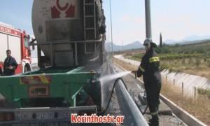 Κόρινθος: Βυτιοφόρο τυλίχθηκε στις φλόγες εν κινήσει (vid)