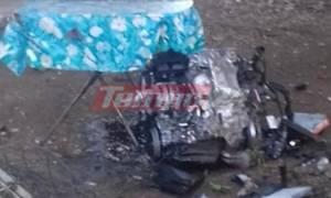 Απίστευτο τροχαίο στην Πάτρα: Η μηχανή του ΙΧ. προσγειώθηκε σε αυλή του σπιτιού (pics)