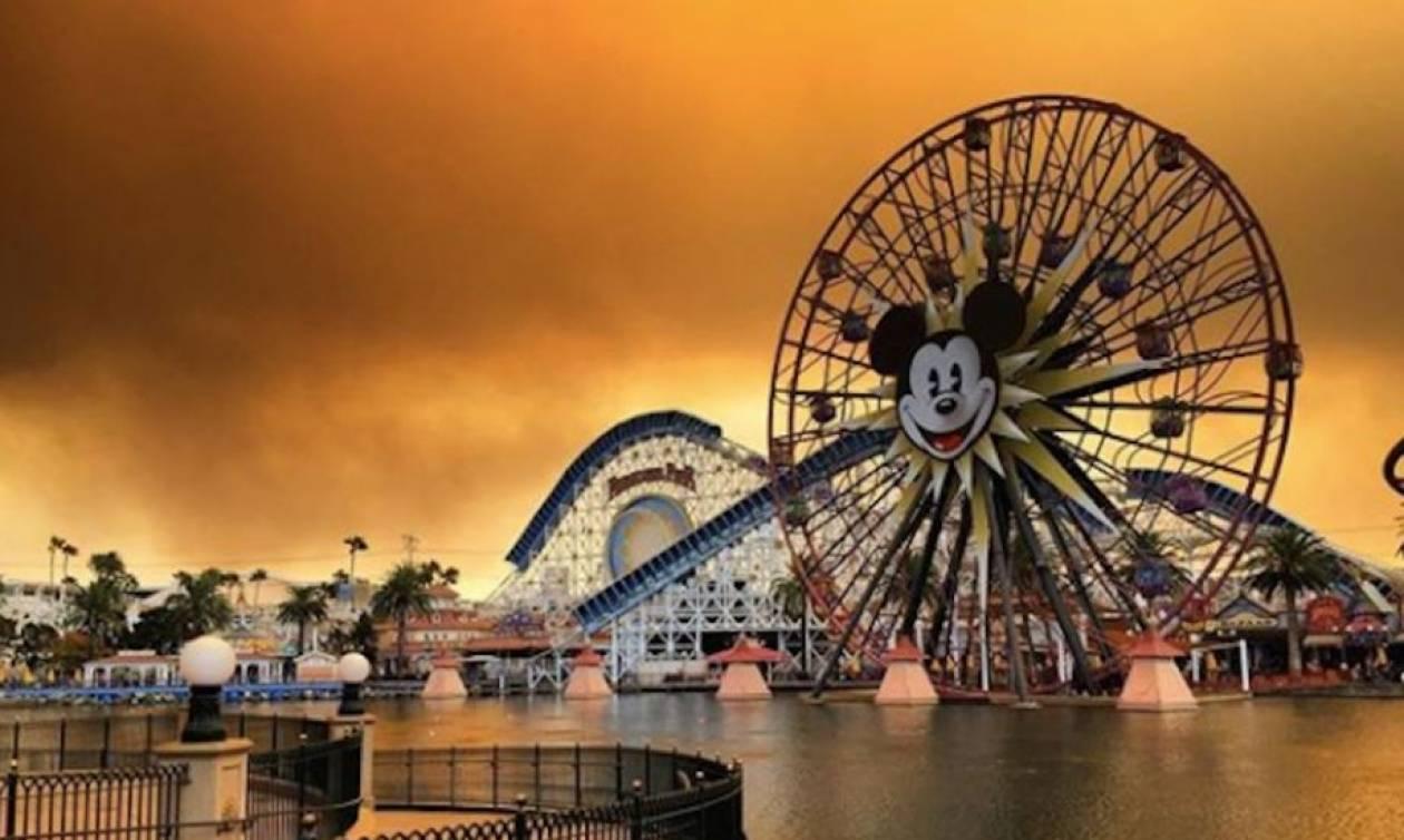 Εικόνες αποκάλυψης στην Καλιφόρνια: Πυκνοί καπνοί «πνίγουν» τη Disneyland