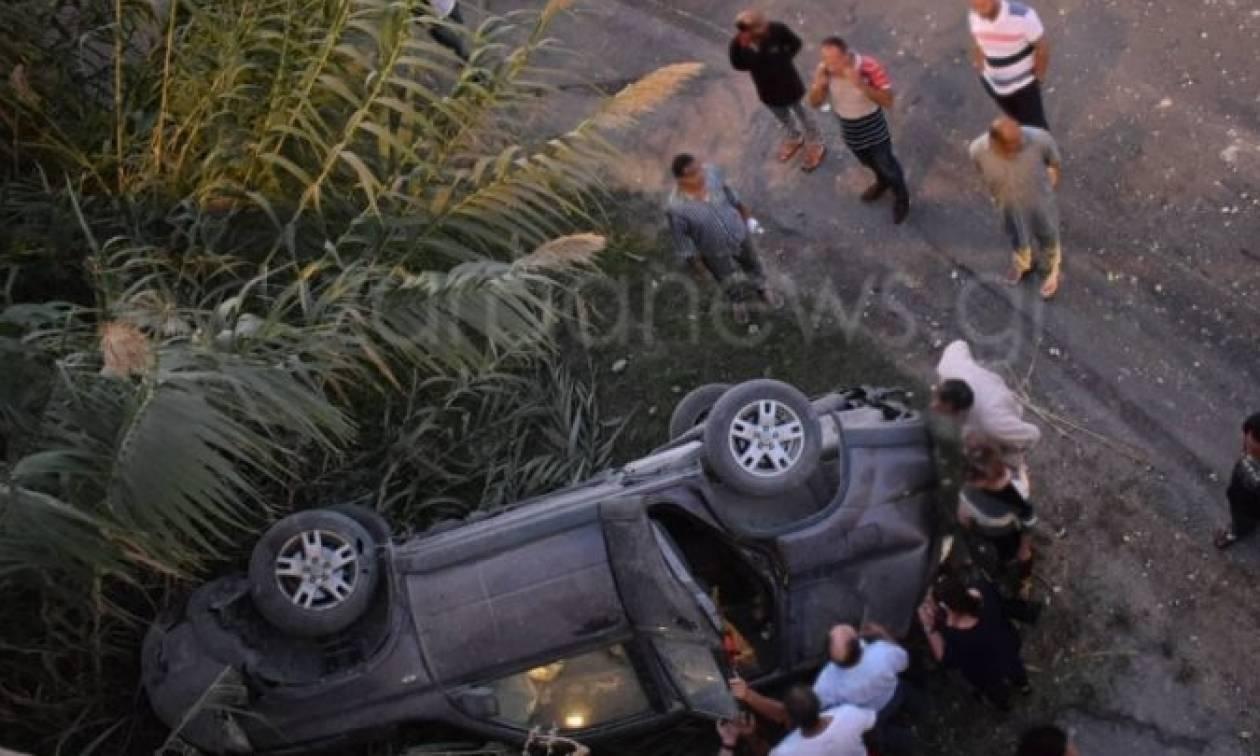 Σοβαρό τροχαίο: Πτώση τζιπ από γέφυρα στην Εθνική οδό!
