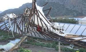 Ανεμοστρόβιλος κατέστρεψε θερμοκήπια στην Ιεράπετρα! (pics)