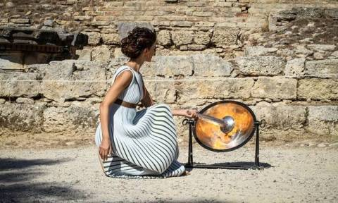 Lightning of Olympic flame for 23rd Winter Olympics started at Ancient Olympia