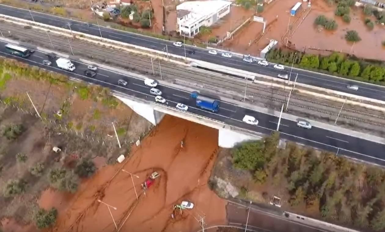Πλημμύρες Μάνδρα: Το μέγεθος της καταστροφής από ψηλά... (video)