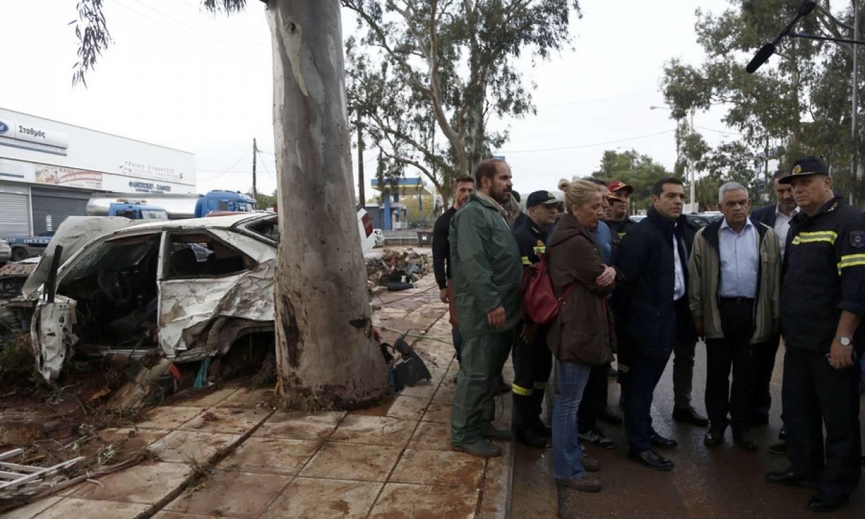 Πλημμύρες Αττική: Στην «πληγωμένη» Μάνδρα Τσίπρας και Δούρου για αυτοψία (pics)