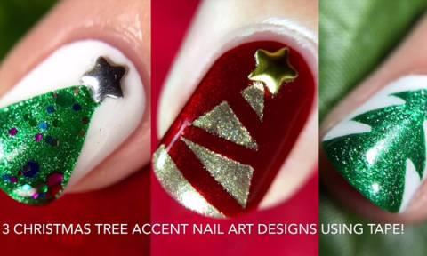 Δείτε πόσο εύκολα μπορείτε να σχεδιάσετε χριστουγεννιάτικα δεντράκια στα νύχια σας (vds)
