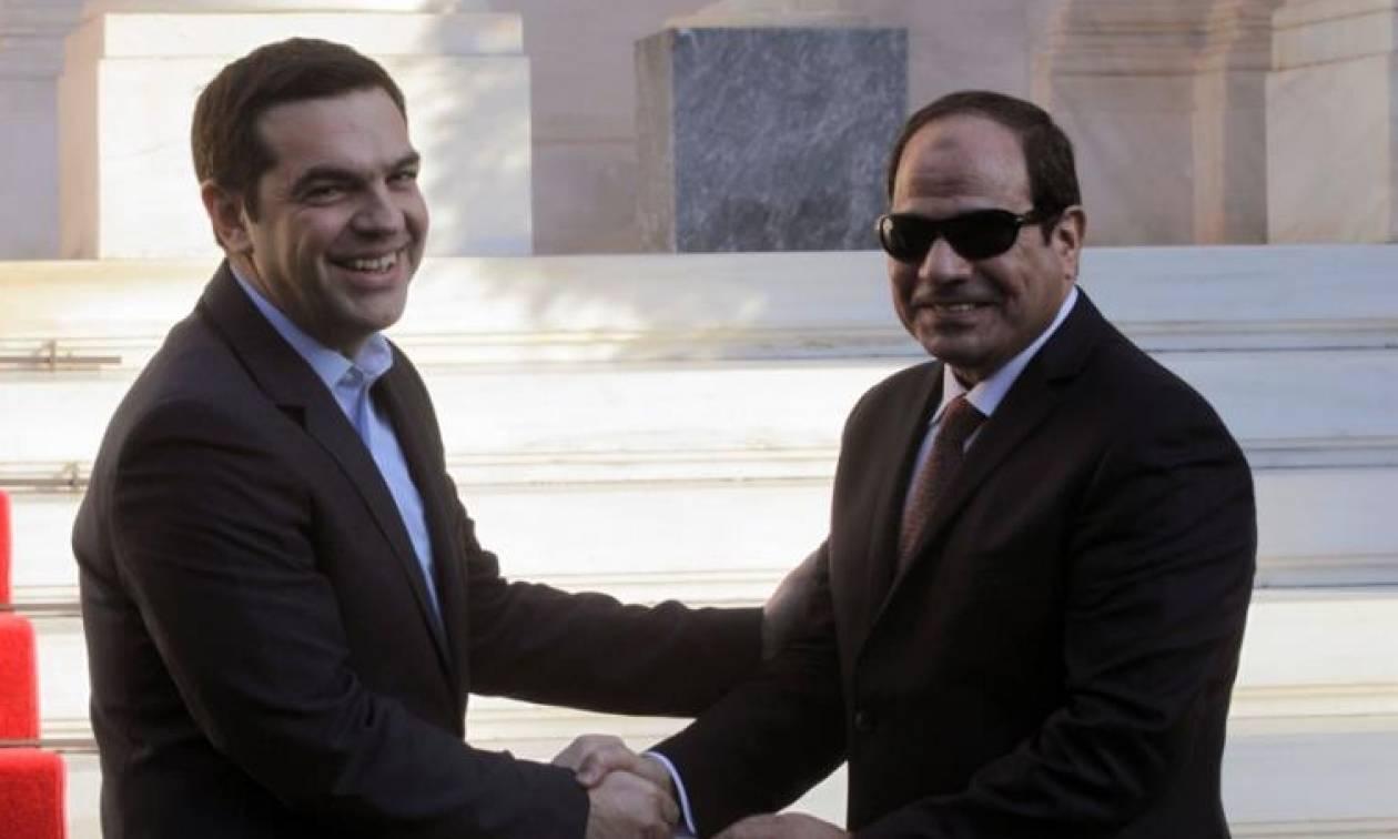 Σε εξέλιξη συνάντηση του Αλέξη Τσίπρα με τον Αιγύπτιο πρόεδρο