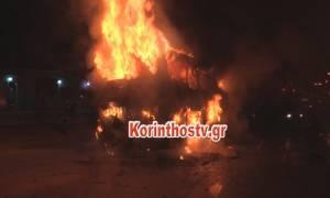 Λεωφορείο με 22 επιβαίνοντες πήρε φωτιά στην Εθνική Οδό Αθηνών - Κορίνθου (pics+vids)