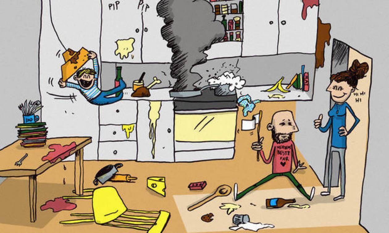 Η καθημερινότητα ενός μπαμπά με τα παιδιά μέσα από δέκα φανταστικά σκίτσα