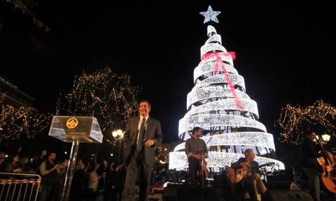 Christmas tree lights up in Athens