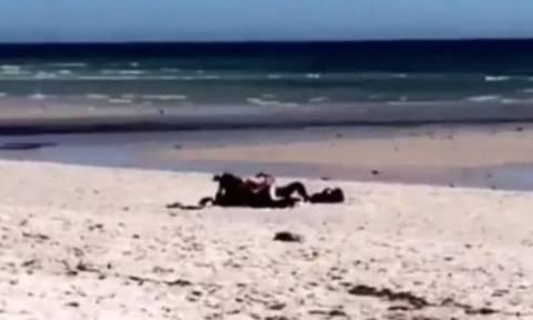 Δεν έχουν τον Θεό τους! Ασυγκράτητο ζευγάρι ερωτοτροπεί σε παραλία μέρα - μεσημέρι (Pics&Vid)