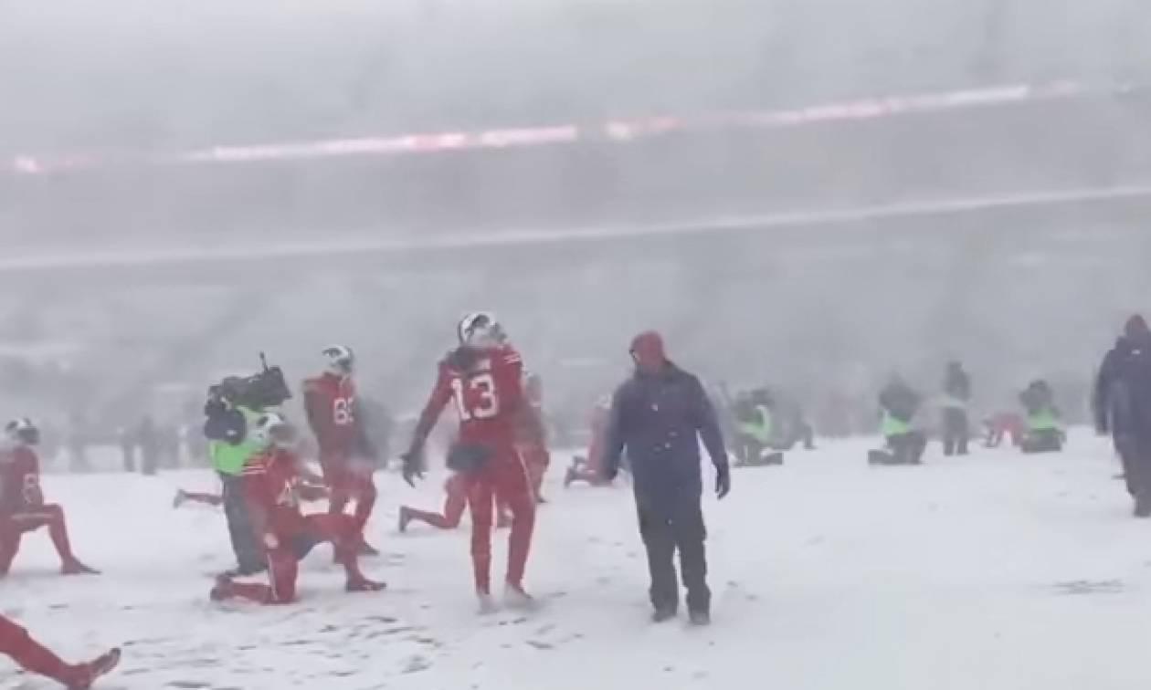 Απίθανη χιονόπτωση κατά τη διάρκεια αγώνα NFL (video)