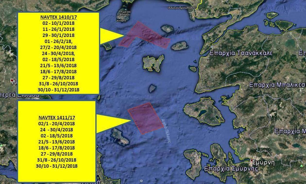 Νέα πρόκληση από την Τουρκία: Δεσμεύουν με NAVTEX τρεις περιοχές στο Αιγαίο για όλο το 2018
