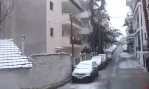 Κακοκαιρία: Πυκνή χιονόπτωση στην Κοζάνη (video)