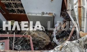 Εικόνες - σοκ: Βράχοι ισοπέδωσαν σπίτι στη Ζαχάρω