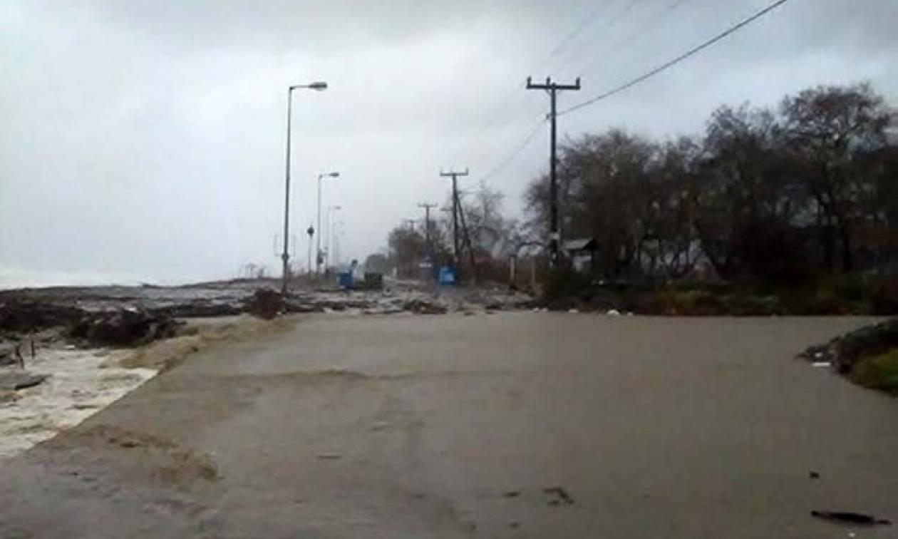 Κακοκαιρία - Λάρισα: Η θάλασσα βγήκε στο δρόμο, ισχυρές χιονοπτώσεις στις ορεινές περιοχές (vids)